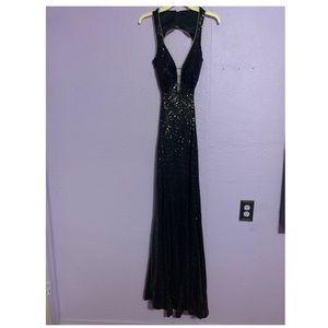 Black backless sequin prom dress